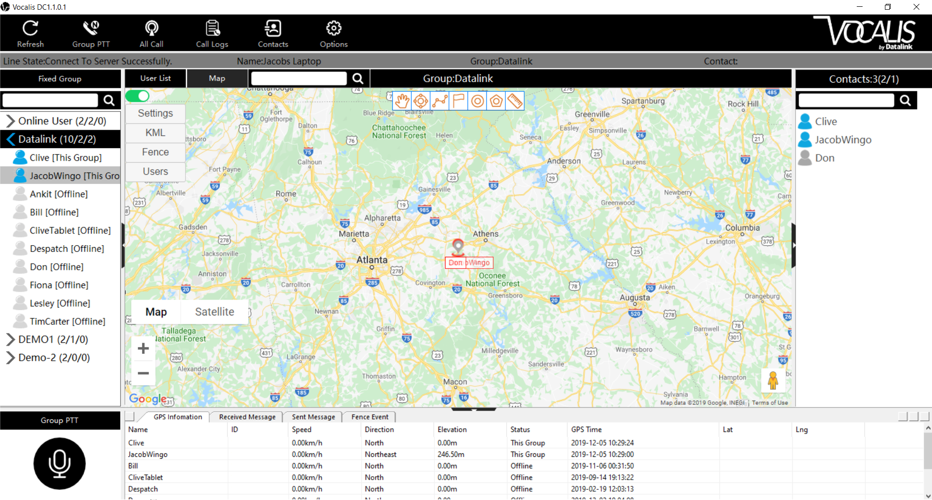 Vocalis DC dispatch console screenshot of map view